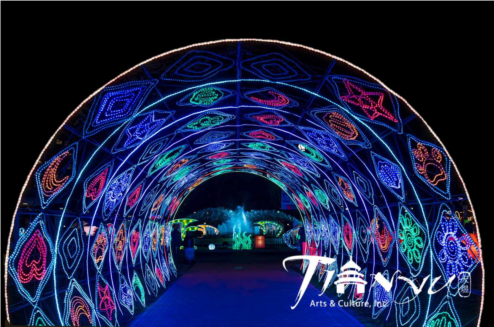 Vibrant colorful tunnel full of animal prints.